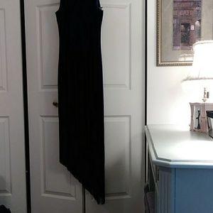 Fringe Bottom Velvet evening dress